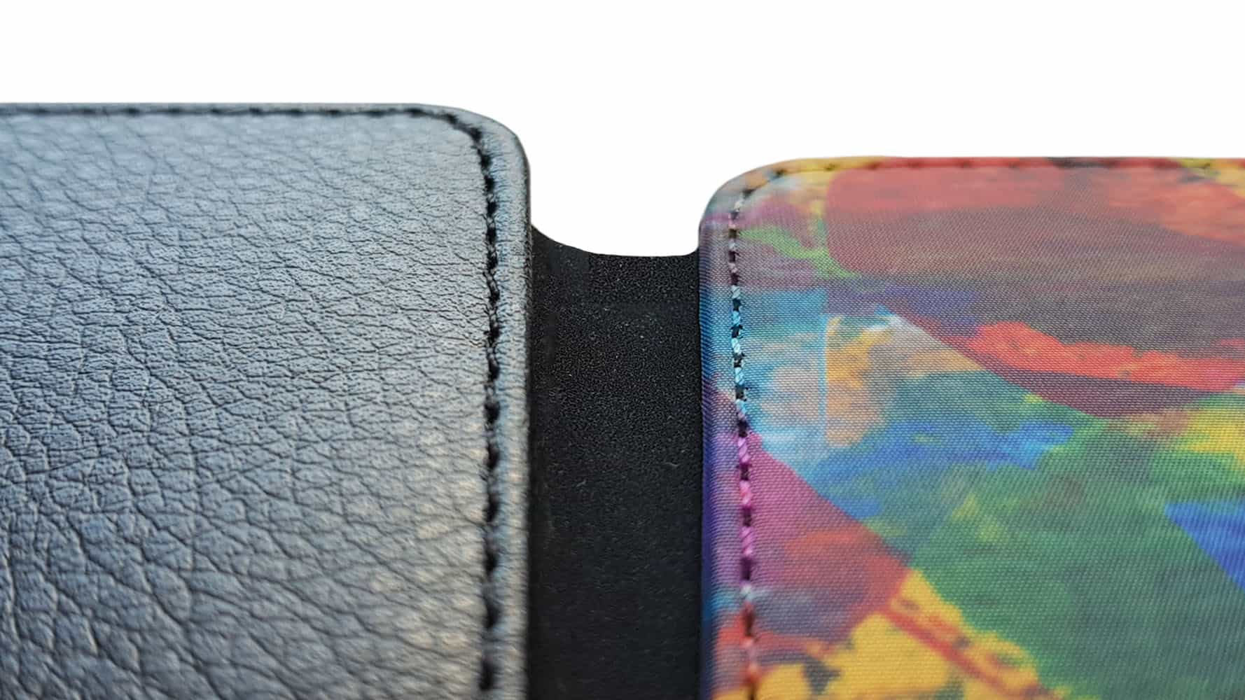 Front printed wallet case close up front and back sides