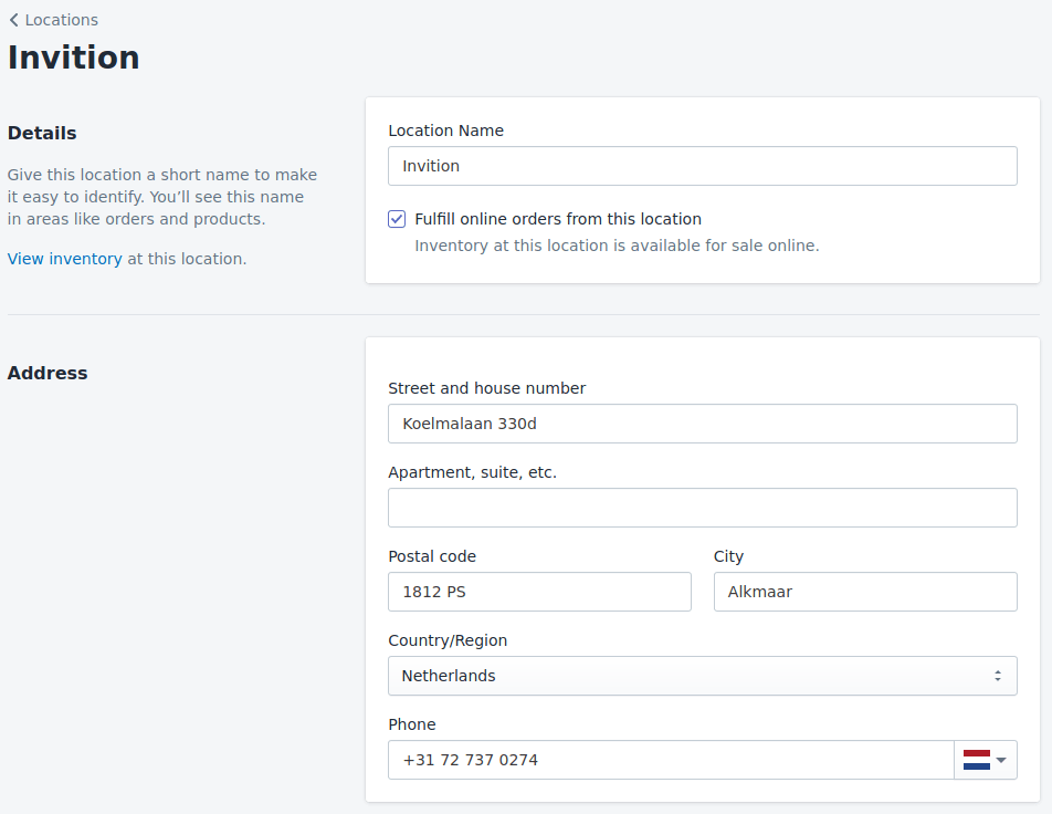 Add a location to Shopify
