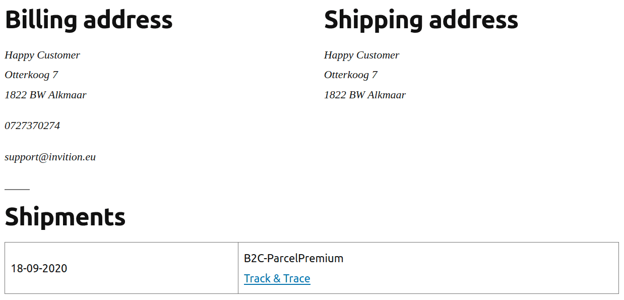 Display shipments on the order page
